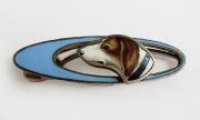 Haarspange, Metall, emailliert,  Emaillmalerei - Hundemotiv