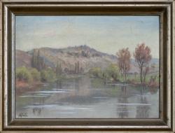 Am Neckar - Ölgemälde, 42 x 30 cm