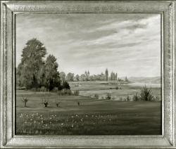 Landschaft - Fotoplatte, Ölgemälde, 1942