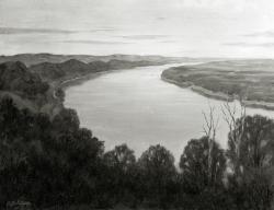 Landschaft - Fotoplatte, Ölgemälde, 1949