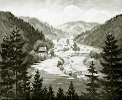 Oberes Enztal - Fotoplatte, Ölgemälde, 1941