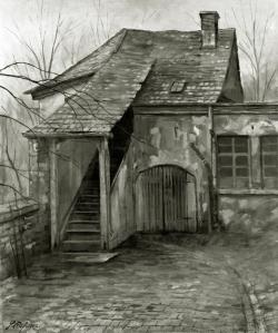Alt Pforzheim - Fotoplatte, Ölgemälde, 1942