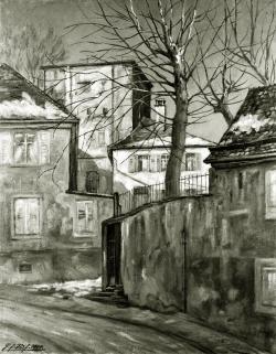 Am Leitgastturm, Alt Pforzheim - Fotoplatte, Ölgemälde, 1944