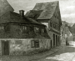 Holländerhäuschen, Alt Pforzheim - Fotoplatte, Ölgemälde, 1937