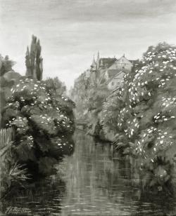 Kanal beim Wörth Steg - Fotoplatte, Ölgemälde, 1944