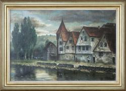 Morgen_beim Schelmenturm (Pforzheim) - Ölgemälde, 70,5 x 50,5 cm (Maß incl. Rahmen), 1909