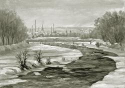 Pforzheim - Fotoplatte, Ölgemälde, 1940