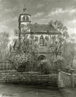 Unsere alte Schlosskirche, Alt Pforzheim - Fotoplatte, Ölgemälde, 1944