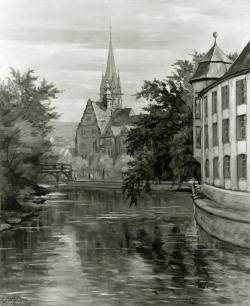 Vor den Arkaden an der Stadtkirche - Fotoplatte, Ölgemälde, 1940