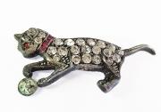 Brosche Katze, Silber und Zirkoonia (Perle fehlt)