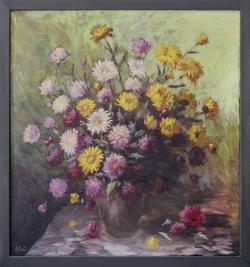 Blumenstrauß, Ölgemälde, 67 x 72 cm
