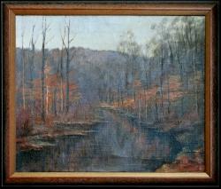 Einsamkeit im Walde, Stonetone Road - Ölgemälde, 46 x 38 cm, 1950