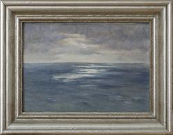 Überfahrt n die USA, trüb Wetter, 39 x 31 cm (Maß incl. Rahmen), ca. 1954auf See - Ölgemälde