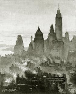 New York - Fotoplatte,  Ölgemälde, 1949