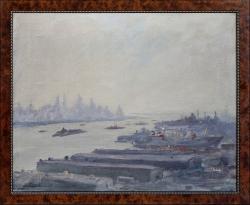 Über den Docks bei Hoboken - Ölgemälde, 54 x 42 cm, 1950