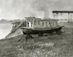 Barkasse - Fotoplatte, Ölgemälde, 1949