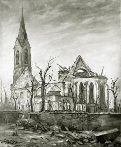 Ruine der Stadtkirche - Fotoplatte, Ölgemälde, 1946