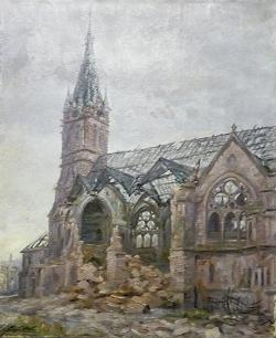 Stadtkirche nach der Zerstörung - Ölgemälde, 1946
