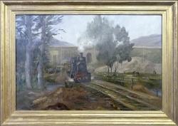 Trümmerbähnchen - Ölgemälde, 68 x 45 cm