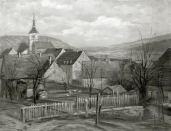 Dorf - Fotoplatte, Ölgemälde, 1943