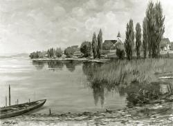 Insel Reichenau - Fotoplatte, Ölgemälde, 1942