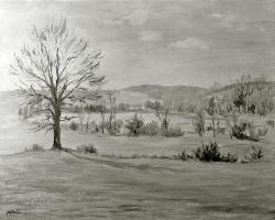 Landschaft - Fotoplatte, Ölgemälde