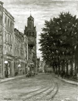 Alt Pforzheim - Fotoplatte, Ölgemälde, 1939
