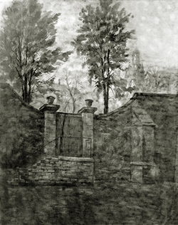 Altes Pföertchen b. d. Barfüßer,  Alt Pforzheim - Fotoplatte, Ölgemälde, 1937