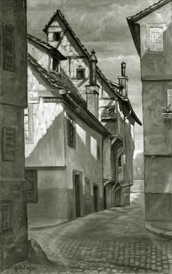 Am Wassergäßle, Alt Pforzheim - Fotoplatte, Ölgemälde, 1936