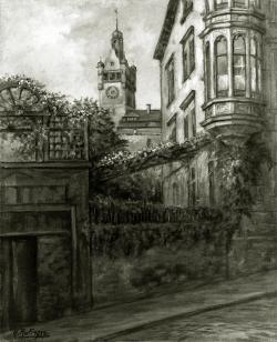 Erker am Schlossberg, Alt Pforzheim - Fotoplatte, Ölgemälde, 1937