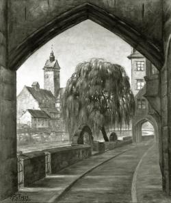 Pflügerstraße mit Stadtbad - Fotoplatte, Ölgemälde, 1937
