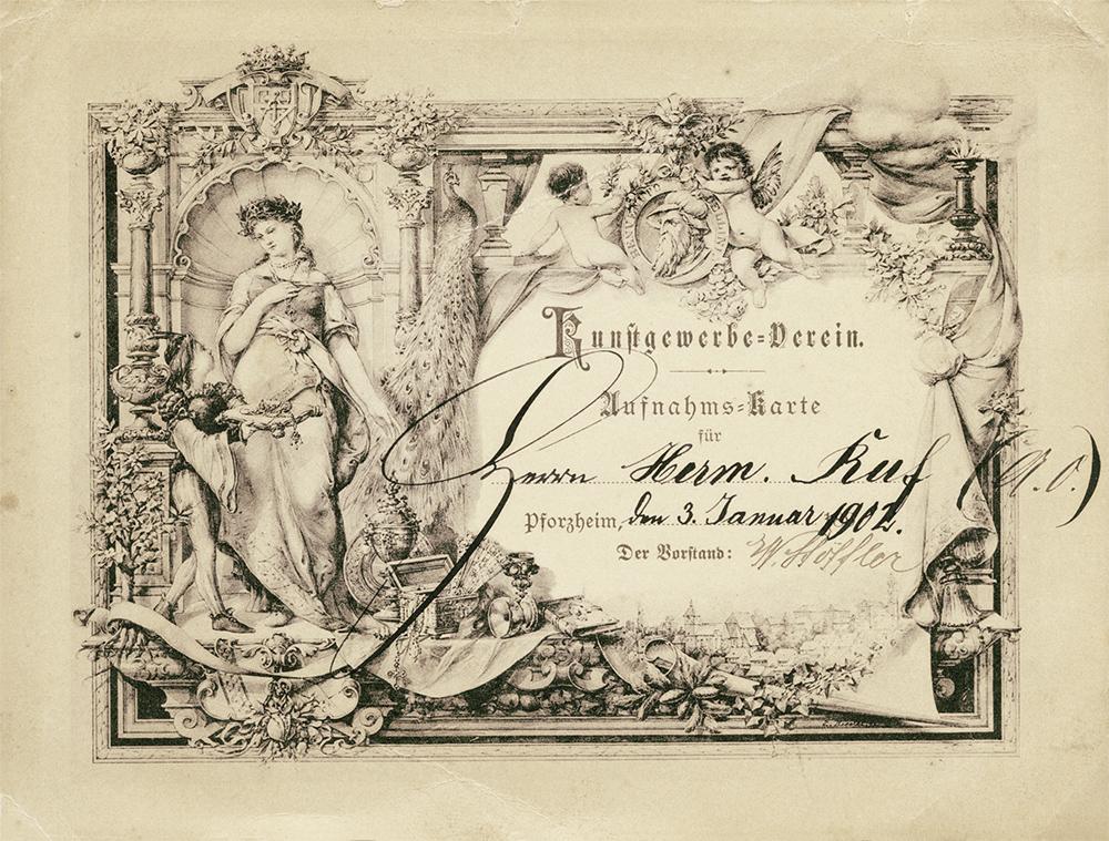 Zunftaufnahmekarte 1902