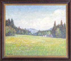 Abend in Kaltenbronn - Ölgemälde,  gewidmet Hermine, 47 x 39 cm