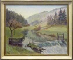 Maimorgen im Würmtal - Ölgemälde, 57 x 45 cm, vor 1952