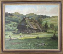 Vogtsbauernhof Gutach - Ölgemälde, 85 x 73 cm (Maß incl. Rahmen), 1950