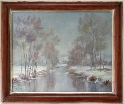 Winter im Enztal bei Niefern - Ölgemälde, 41 x 34 cm (Maß incl. Rahmen), um 1950