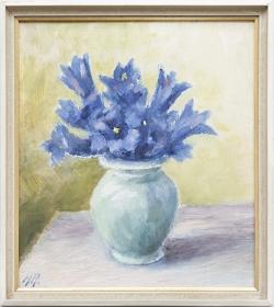 Blumenstillleben, Ölgemälde, 16,5 x 18,5 cm