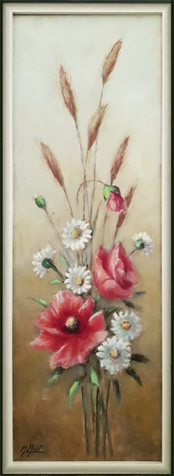 Blumenstillleben - Ölgemälde, 21 x 60 cm