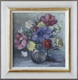 Sommerblumen - Ölgemälde, 33 x 34 cm (Maß incl. Rahmen), um 1946