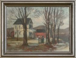 Die Nachbarfarm, USA New Jersey - Ölgemälde, 35 x 26 cm, 1950