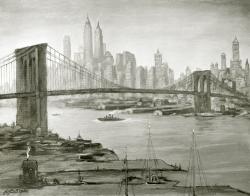 New York - Fotoplatte,  Ölgemälde, 1950