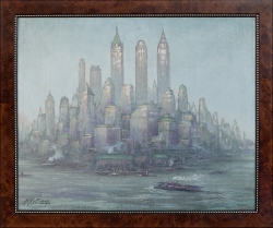 New York Skyline - Ölgemälde, 44 x 34 cm, 1949